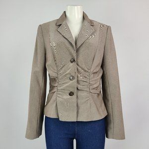 Jessica Taupe Brown Ruched Blazer Size M